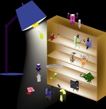 fiction book life bookshelf flying characters